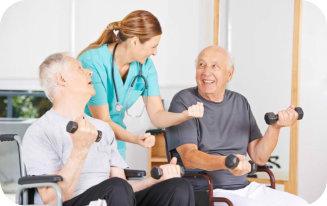 senior men and caregiver